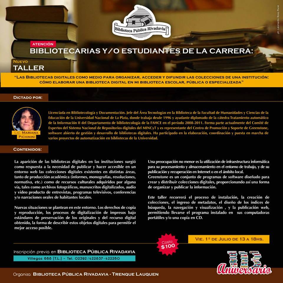 Taller sobre bibliotecas digitales en Trenque Lauquen, provincia de Buenos Aires